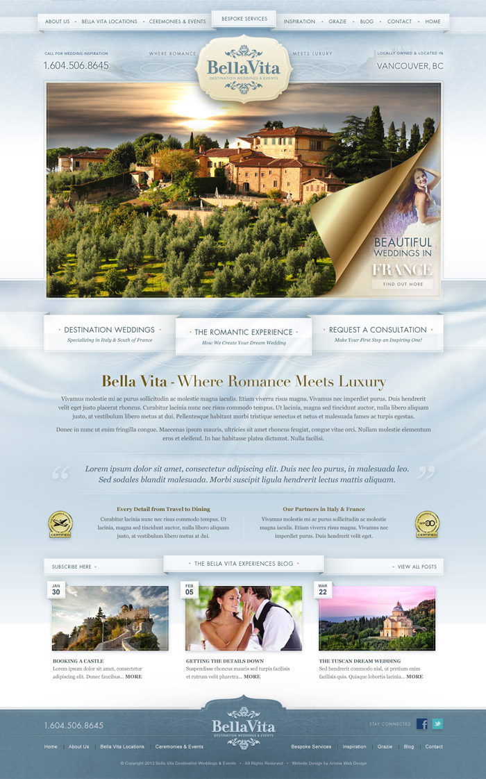 Romantic, Artistic Travel Website