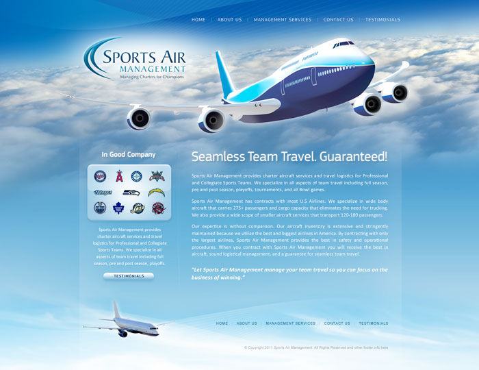 Air Transport Web Design