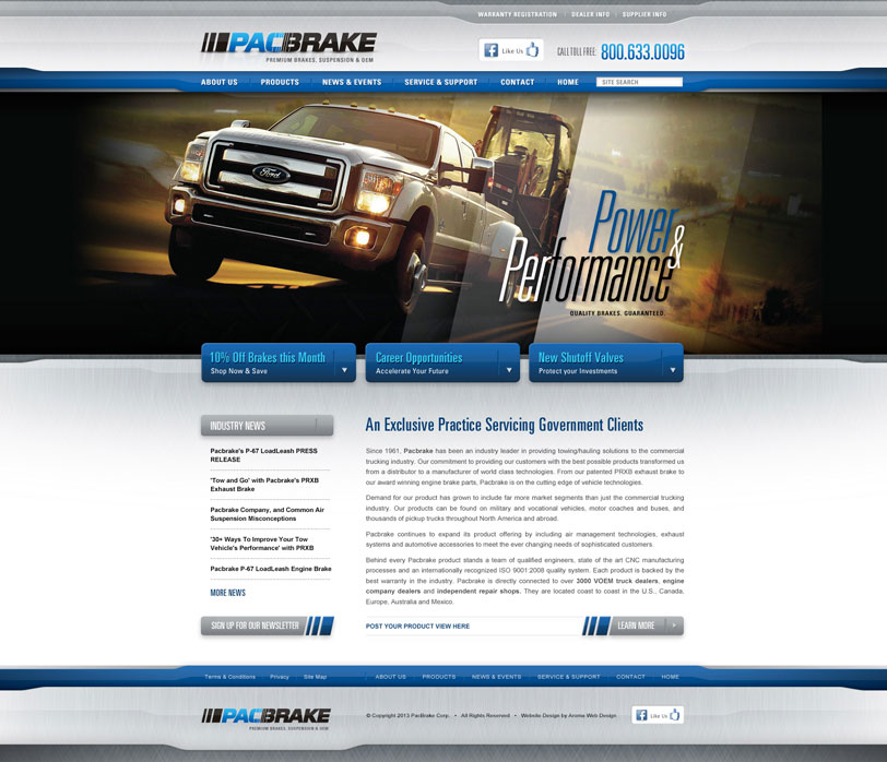 Transport & Commercial WordPress Website for Pacbrake