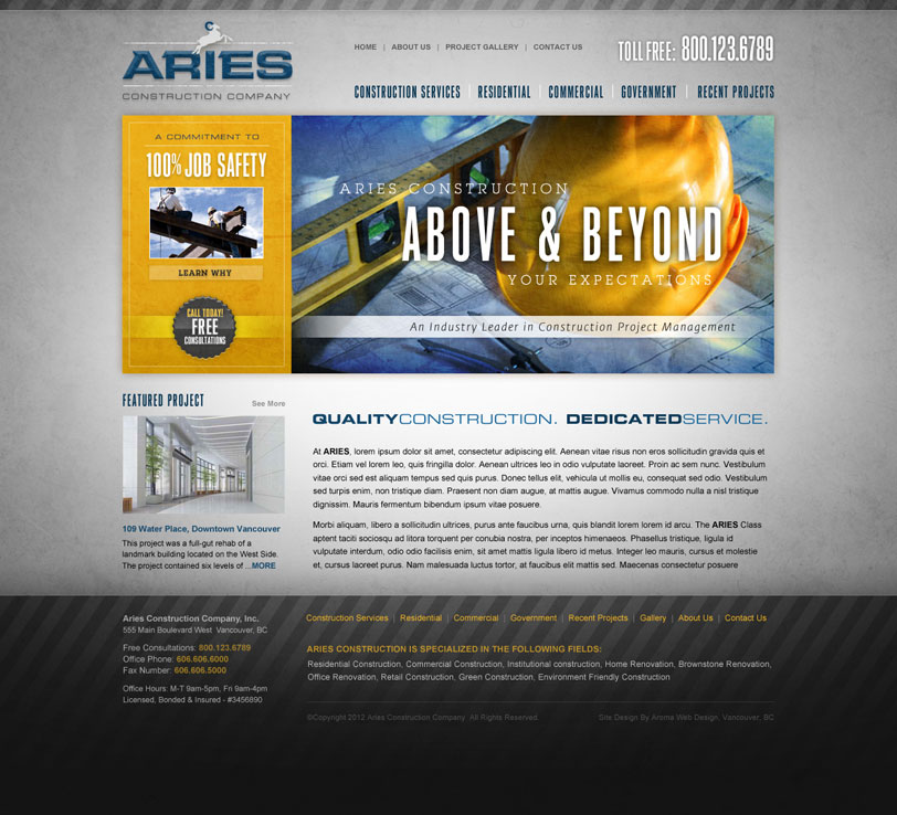 Vancouver Construction Company Website Design