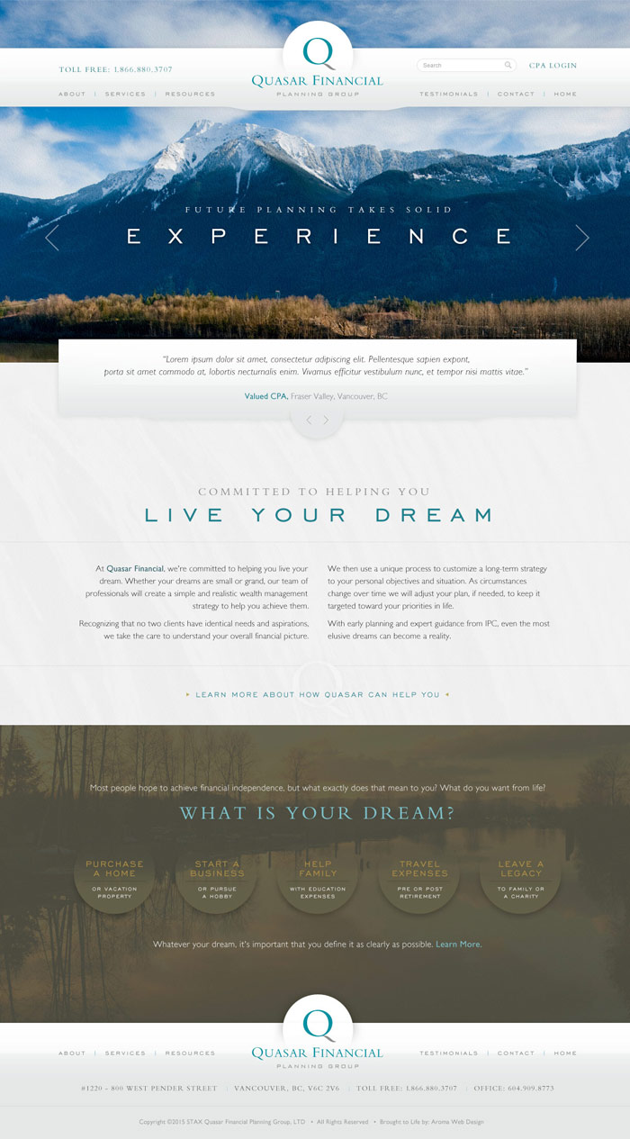 Vancouver Financial Planning Firm Website