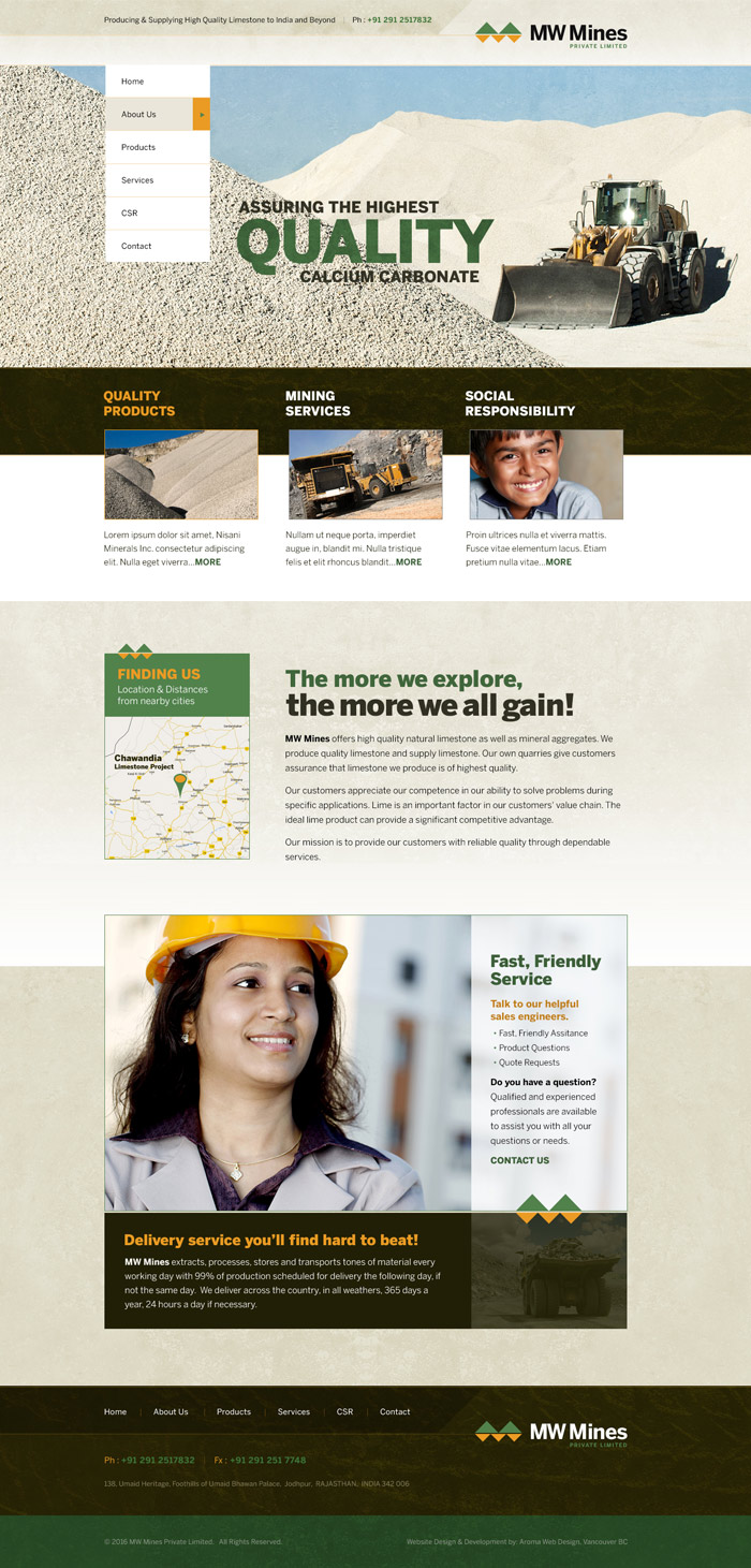 Limestone Mine Web Design