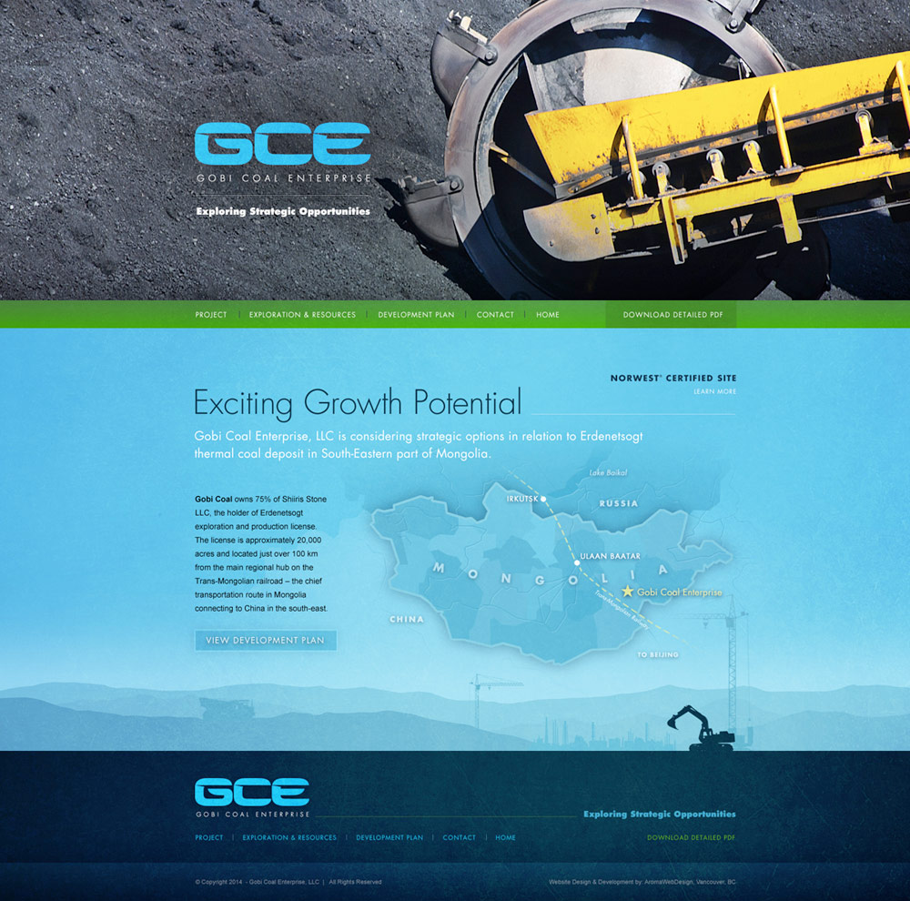Aroma Web Design: Vancouver Construction, Mining & Land Development