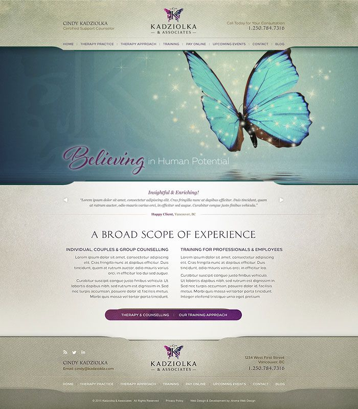Beautiful therapist web design