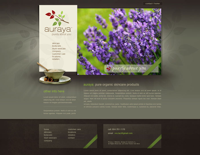 Organic Spa Products Website